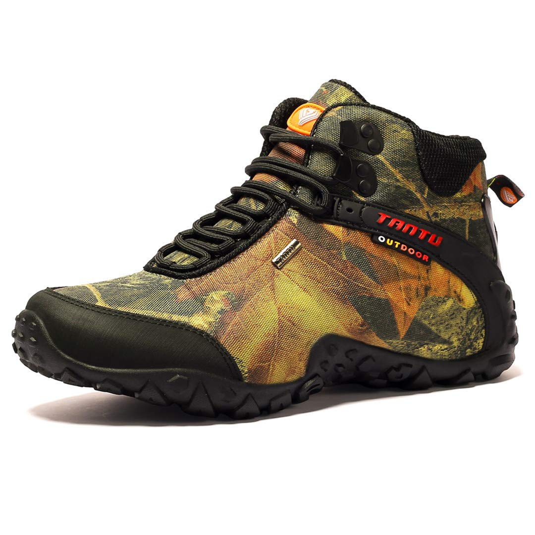 Men's Trekking Boots Autumn Mountaineering Outdoor Sneakers Waterproof Winter Walking Shoes Camouflage Yellow 10.5 by CNSDLK