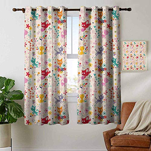 petpany Curtains for Bedroom Kitten,Playful Happy Kittens Chasing Butterflies and Wool Balls Among Colorful Flowers, Multicolor,Darkening and Thermal Insulating Draperies 42
