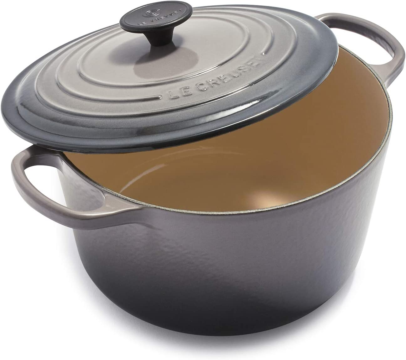 Le Creuset of America Le Creuset L2595-247F Enameled 5.25 Quart Deep Round, Oyster Cast Iron Dutch Oven, qt