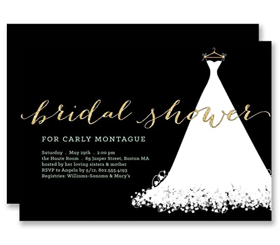 black white bridal shower invitations wedding dress gold glitter look personalized boutique invites with envelopes