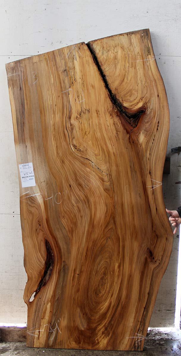 Live Edge Wood Slab Tabletop Rustic English Elm Kitchen Island Countertop Custom Natural Raw Wooden Furniture Unfinished Desktop DIY 6317a1