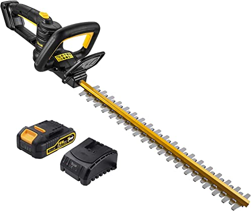 TECCPO Cordless Hedge Trimmer, with Battery and Charger, 20V 2.0 Ah, 20-Inch Blade Length, 3 4-Inch Cutting Thickness, Dual Action Laser Blade Diamond-Ground Blades – TDHT02G
