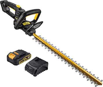 TECCPO Cordless Hedge Trimmer, with Battery and Charger, 20V 2.0 Ah, 20-Inch Blade Length, 3/4-Inch Cutting Thickness, Dual Action Laser Blade & Diamond-Ground Blades - TDHT02G