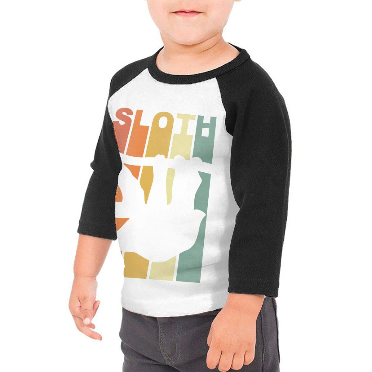 Boys Girls Kids /& Toddler Retro Vintage Sloth Long Sleeve T-Shirt 100/% Cotton
