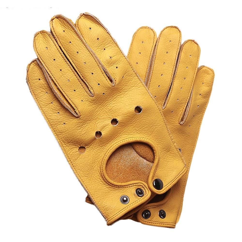 Color : Genuine Yellow-XL Gants de moto New Genuine Leather en peau de mouton en cuir Gants de moto Hommes Vintage Moto Gants Doigt Complet R/étro Biker /Écran Tactile Moto Gants