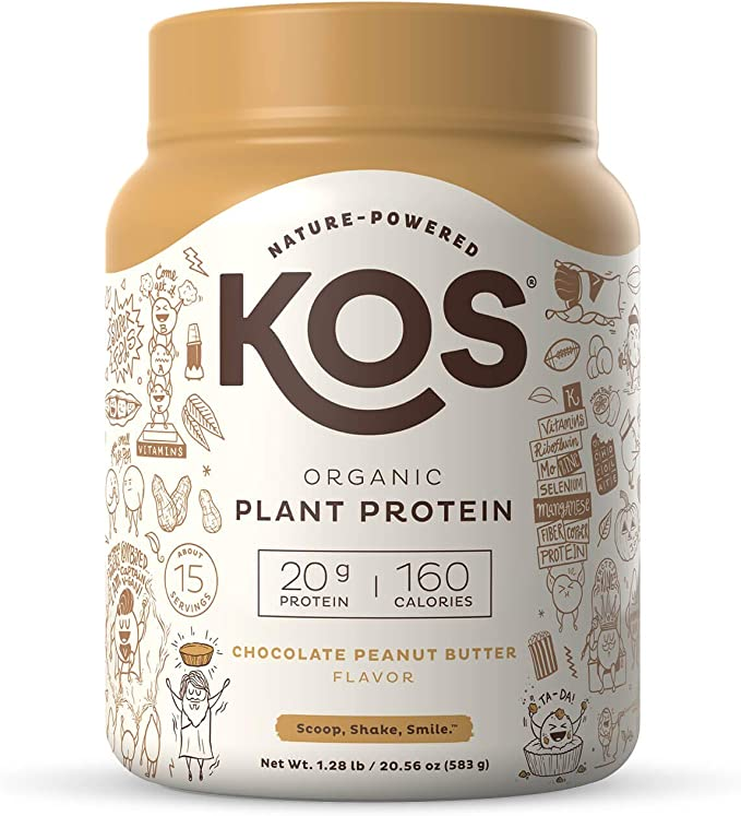 Amazon.com: KOS Organic Plant Based Protein Powder, Chocolate Peanut Butter - Delicious Vegan Protein Powder - Gluten Free, Dairy Free & Soy Free - 1.3 Pounds, 15 Servings: Health & Personal Care