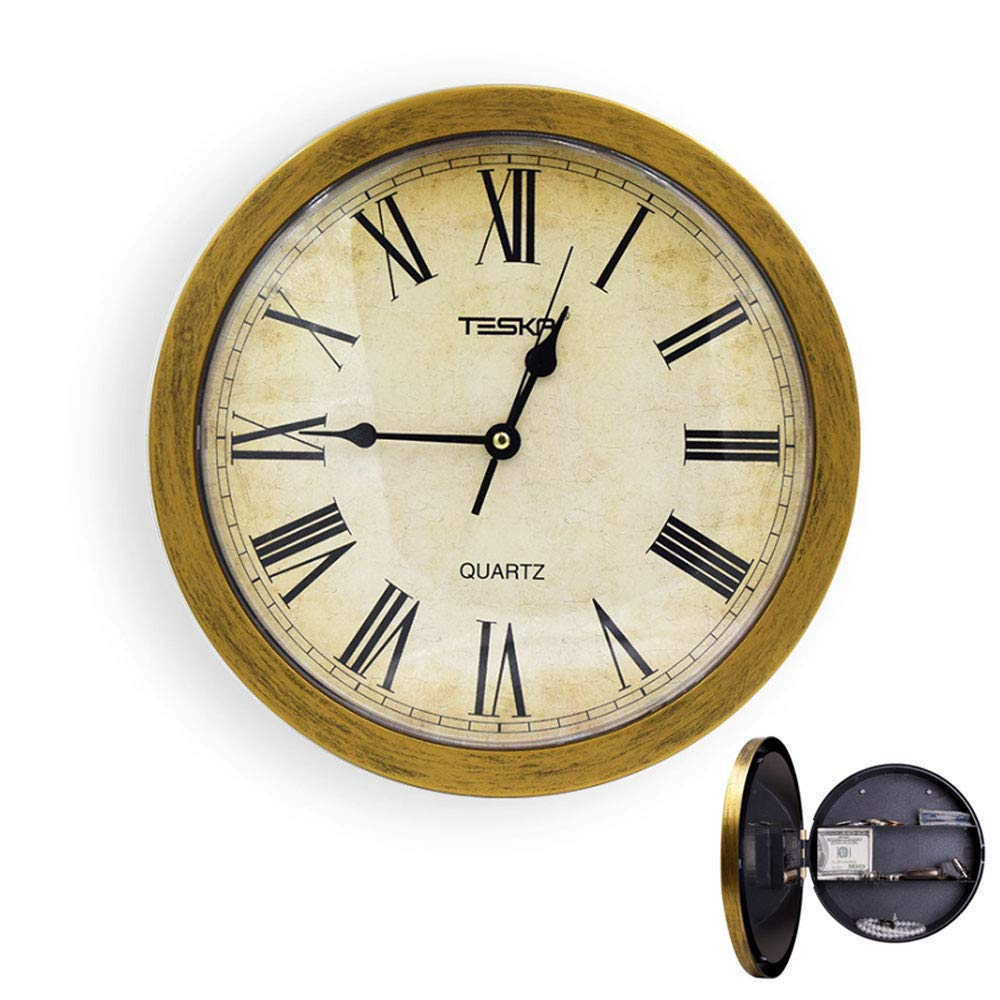 KOBWA Wall Clock with Hidden Safe Storage Clock,10 Inch Creative Wall Hanging Jewelry Invisible Safe Clock Stash Box