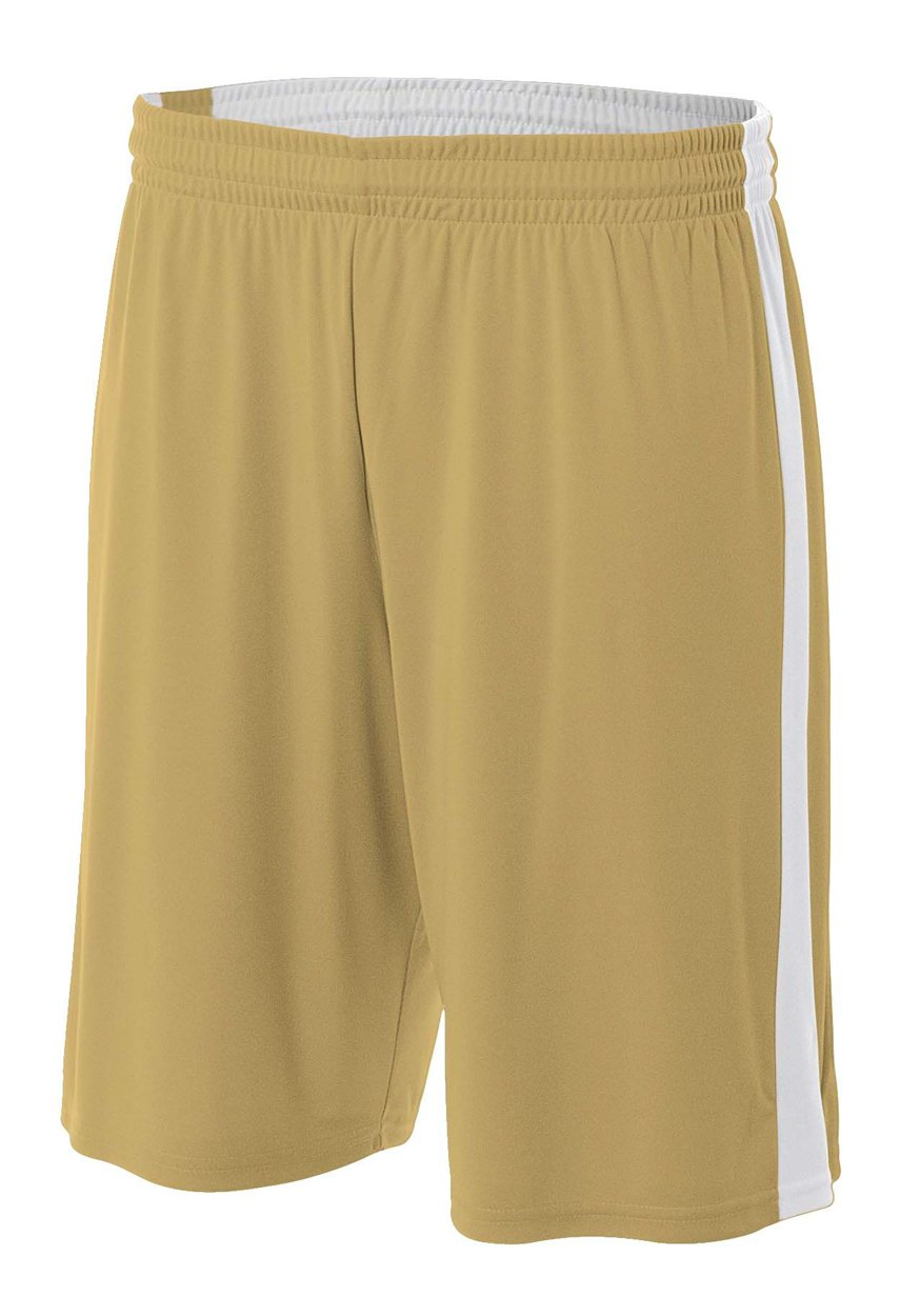 A4 NB5284-VGW Reversible Moisture Management Shorts, 8''/Large, Vegas Gold/White by A4