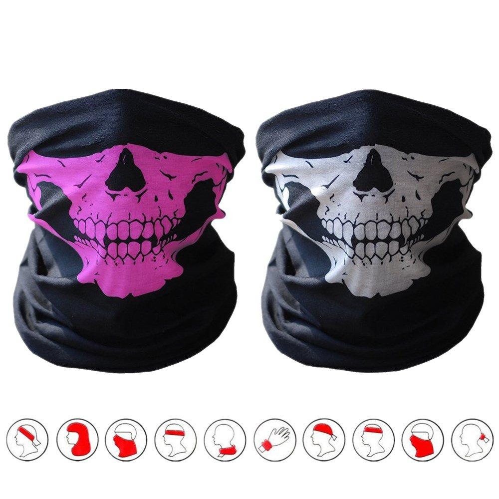 2 maschere/bandane senza cuciture, tema: teschio, materiale: poliestere, usabili come sciarpa/copricollo, per moto, donna (Black&Black) ECOMBOS