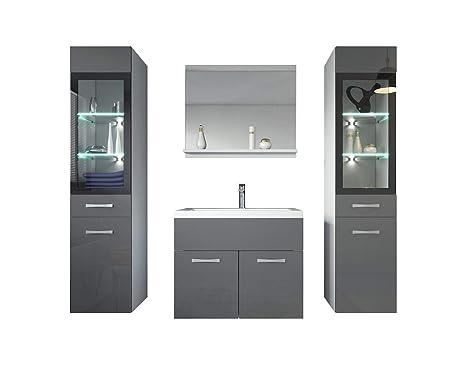 Badezimmer Badmöbel Set Rio XL LED 60 cm Waschbecken Hochglanz Grau Fronten  - Unterschrank 2x Hochschrank Waschtisch Möbel