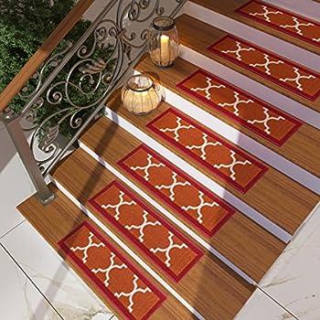[Set Of 7] Red Stair Tread Rugs   Modern Design Trellis Lattice Carpet Pads