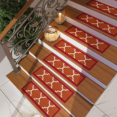 Traditional Style Fire Table ([Set of 7] Red Stair Tread Rugs | Modern Design Trellis Lattice Carpet Pads [Easy to Clean] Rubber Non-slip Non-skid Backing | Nylon Low Pile 9