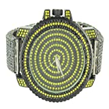 Bumble Bee Men Black & Yellow Lab Diamond Ice Master Sleek Techno Pave Watch