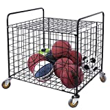MyGift Black Metal Rolling Sports Ball Storage Hopper & Equipment Cart