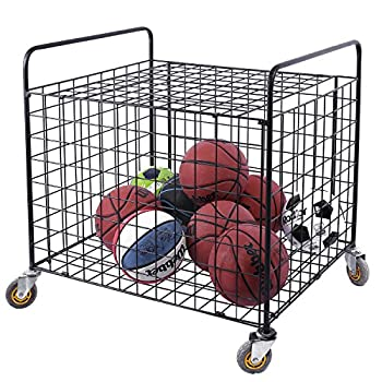 Image of Ball Storage MyGift Metal Rolling Multi Sports Ball Storage Hopper & Basketball, Football, Soccer Equipment Cart