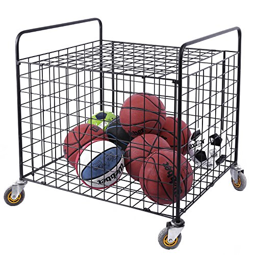 MyGift Metal Rolling Sports Ball Storage Hopper & Equipment Cart