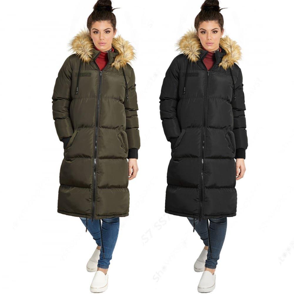 77b4247c58eb Brave Soul Womens Ladies Knee Length 'Duvet Coat' Long Fur Parka Coat  Winter Jacket UK 8 X Small Khaki: Amazon.co.uk: Clothing