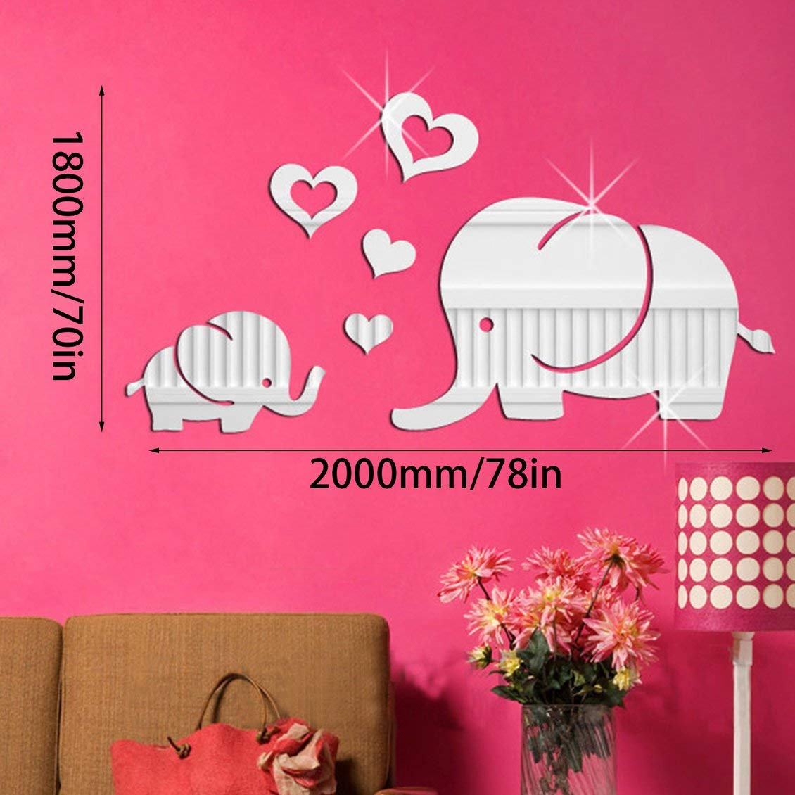 ForceSthrength Love baby elephant mirror wall stickers silver