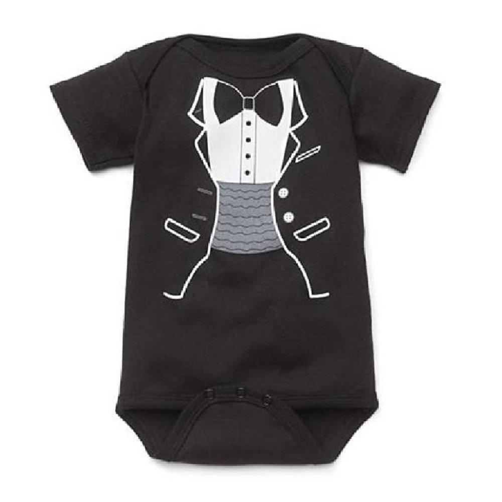 Hooyi Black Baby Boys Bodysuits Summer Short Sleeve