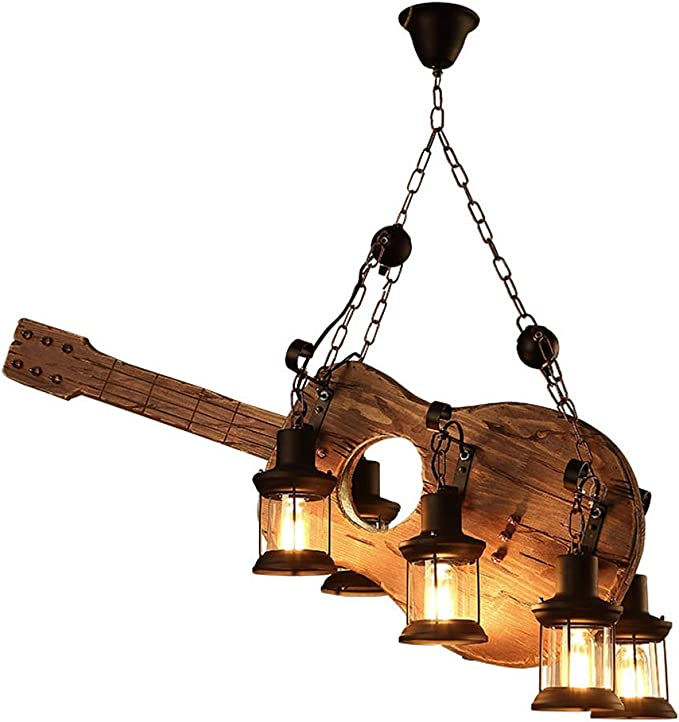 KFU Guitarra acústica de la Vendimia de Techo en Forma de Industrial Light Araña Restaurante Bar Cafe Accesorios lámpara de Hierro Jaula Transparente E27X6 la Pantalla de Cristal