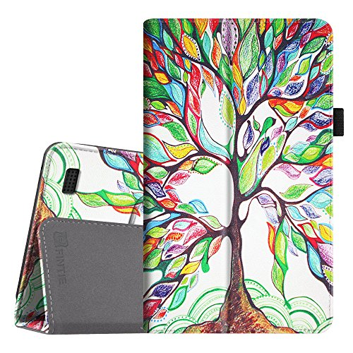 Fintie Folio Case for Amazon Fire (Previous 5th Generation, 2015 7 inch) - Slim Fit Premium Vegan Leather Standing Protective Cover, Love Tree