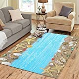 InterestPrint Tropical Beach Seashell Starfish Area Rug 7 x 5 Feet, Sand Sea Shell Modern Carpet Floor Rugs Mat for Children Kids Home Living Dining Room Decoration