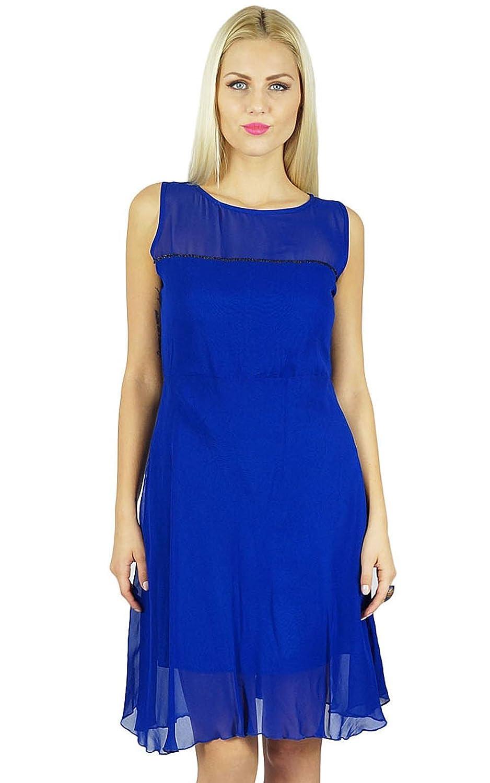 Bimba Frauen Blau Georgette Etuikleid Sheer Georgette über Knie-Party-Kleid