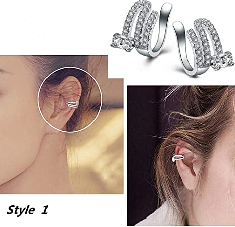 14k Gold Filled Earring Cuff w// Crystal Charm Cartilage Non-pierced Tragus Helix