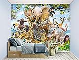Walltastic Jungle Safari Wallpaper Mural, Paper, Multi-Colour, 52.5 x 7 x 18 cm