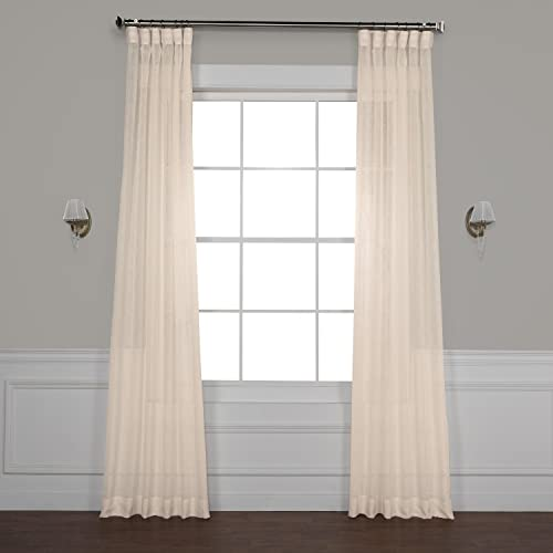 HPD Half Price Drapes SHCH-SS071611-120 Solid Faux Linen Sheer Curtain 1 Panel , 50 X 120, Cotton Seed