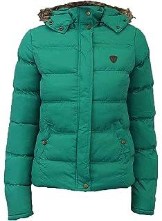 Womens Puffer jacket Metallic Bomber Hooded Padded Winter Ladies Parka Coat 8 16