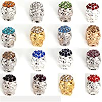 RUBYCA Loose Charm Skull Beads Crystal Pave Sideway Connector