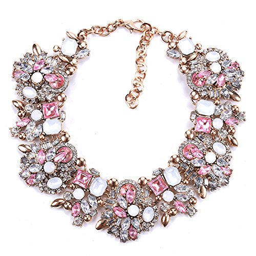 Zthread Bib Statement Necklace Colorful Glass Crystal Collar Choker Necklace for Women Fashion Accessories(Pink + - Bib Necklace Choker