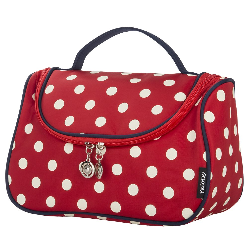 Red Cosmetic Bag, Yeiotsy Stylish Polka Dots Travel Toiletry Bag Makeup Organizer Zippers Closure (Classic Red)