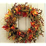 Fall Mountainside Autumn Door Wreath 22 Inch