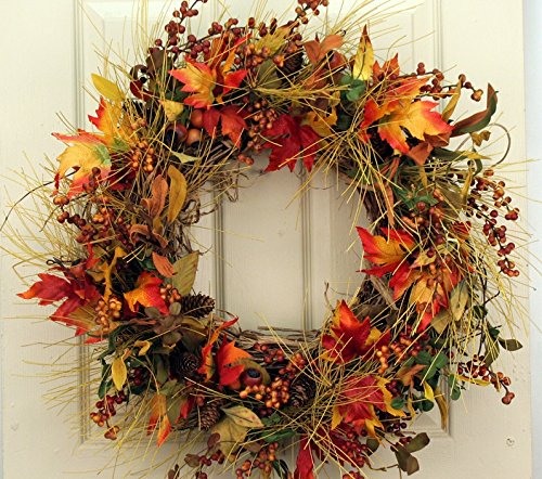 Fall Mountainside Autumn Door Wreath