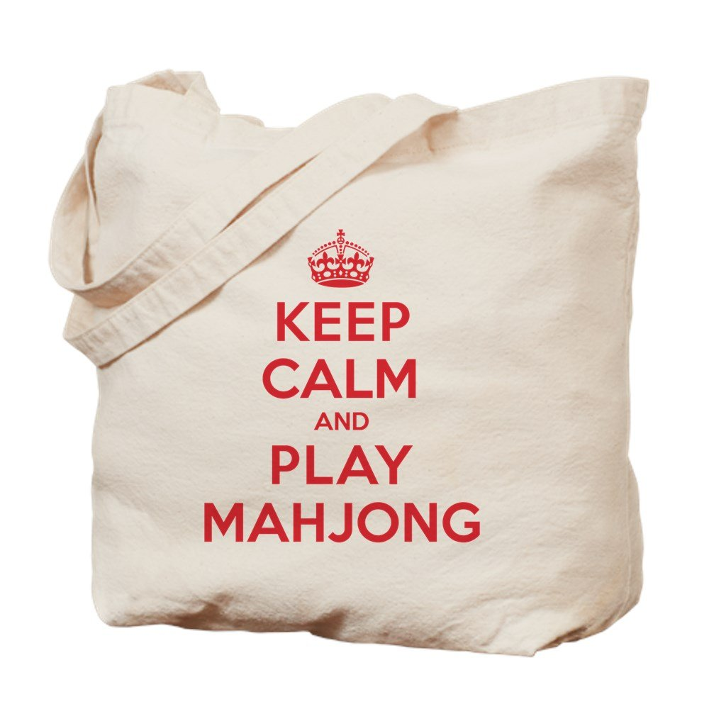 CafePress - Keep Calm Play Mahjong - Natural Canvas Tote Bag, Cloth Shopping Bag