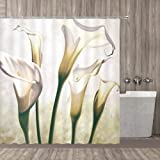qianliansheji Flower Shower Curtain, Flourishing Calla Lilies on White Fresh Spring Bouquet Gentle Nature Theme, Fabric Bathr