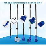 Trousse de nettoyage pour réservoir de poissons Poignée à long manche Brosse de réservoir de poissons Fonctionnelle cinq Outils de nettoyage pour Aquarium Télescopique 5-en-1