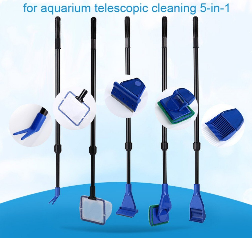 LONDAFISH Cleaning Kit Fish Tank Long Handle Fish Tank Brush Functional Five Cleaning Tools Aquarium Telescopic Cleaning 5-in-1