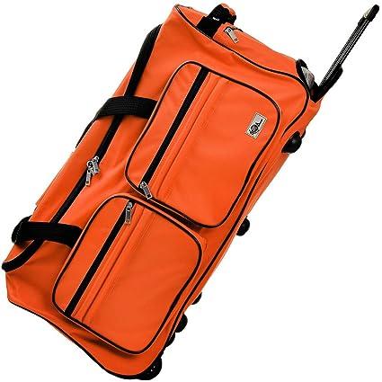 Deuba Bolsa de Viaje Deporte Maleta Naranja 85 litros 70 x 36 x 34 2 Ruedas 5 pies Mango telescópico extraíble Viajes