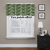 Window Valance Exotic Tropic Pattern with Palm Leaves Breadfruits Plumeria Flowers...