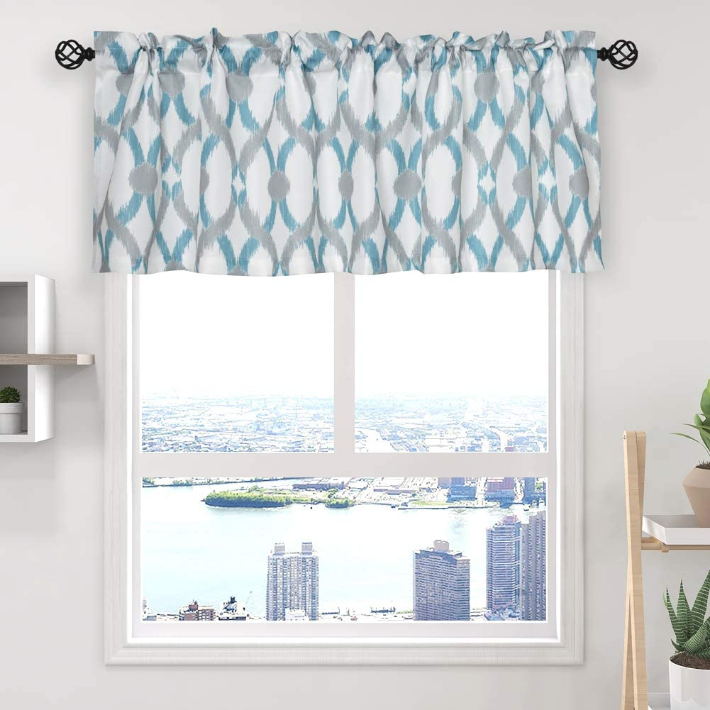 """oremila Kitchen Curtain Valance 54"""" x 15"""" Multicolor Geometric Window Valance for Kitchen and Bathroom, Rod Pocket, Teal/Gray"""