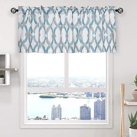 Amazon Com Oremila Kitchen Curtain Valance 54 X 15 Multicolor Geometric Window Valance For Kitchen And Bathroom Rod Pocket Teal Gray Kitchen Dining