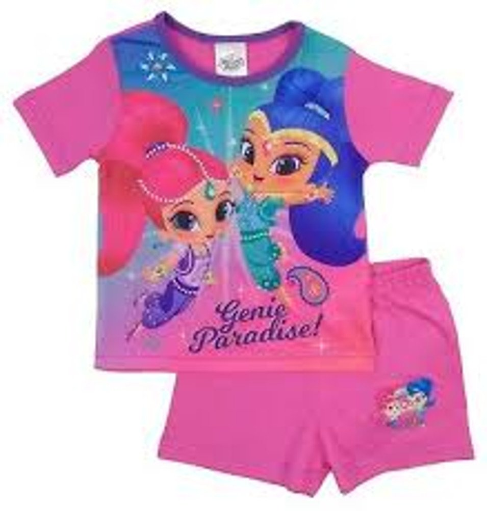 100% Official Merchandise Kids Childrens Girls Novelty Character 2 Piece Shortie Pyjama Set, Ages 1-12 Years