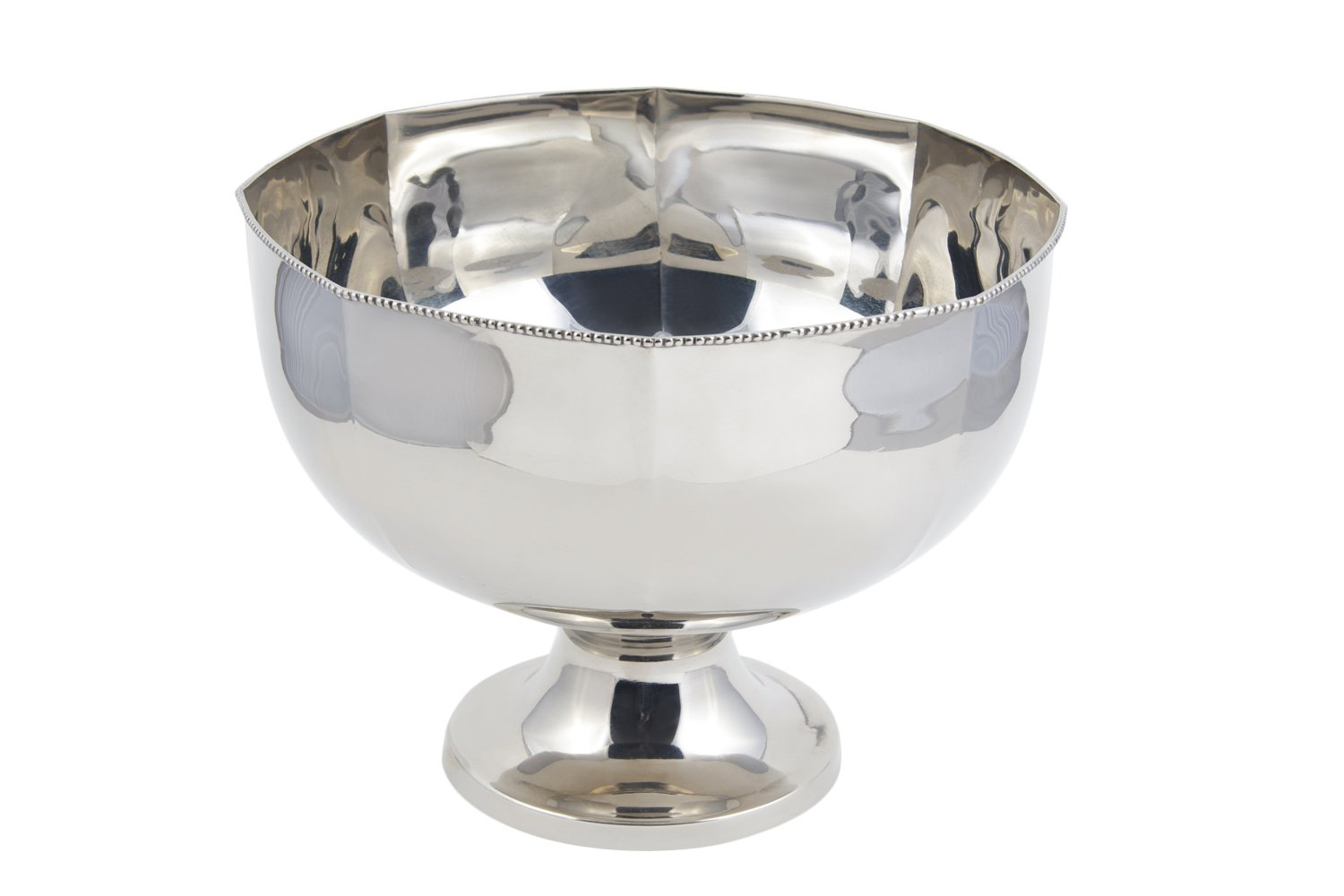 Bon Chef 61322 Stainless Steel Hollowware Punch Bowl with Pedestal Base, 14'' Diameter