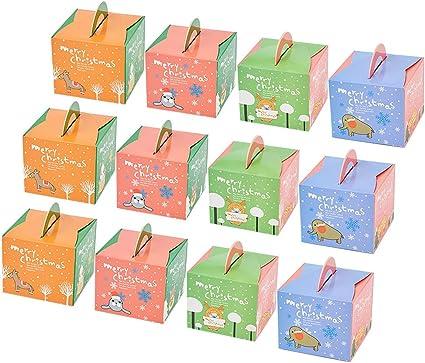Amosfun 50 cajas de regalo de Navidad con asa, dibujos animados ...