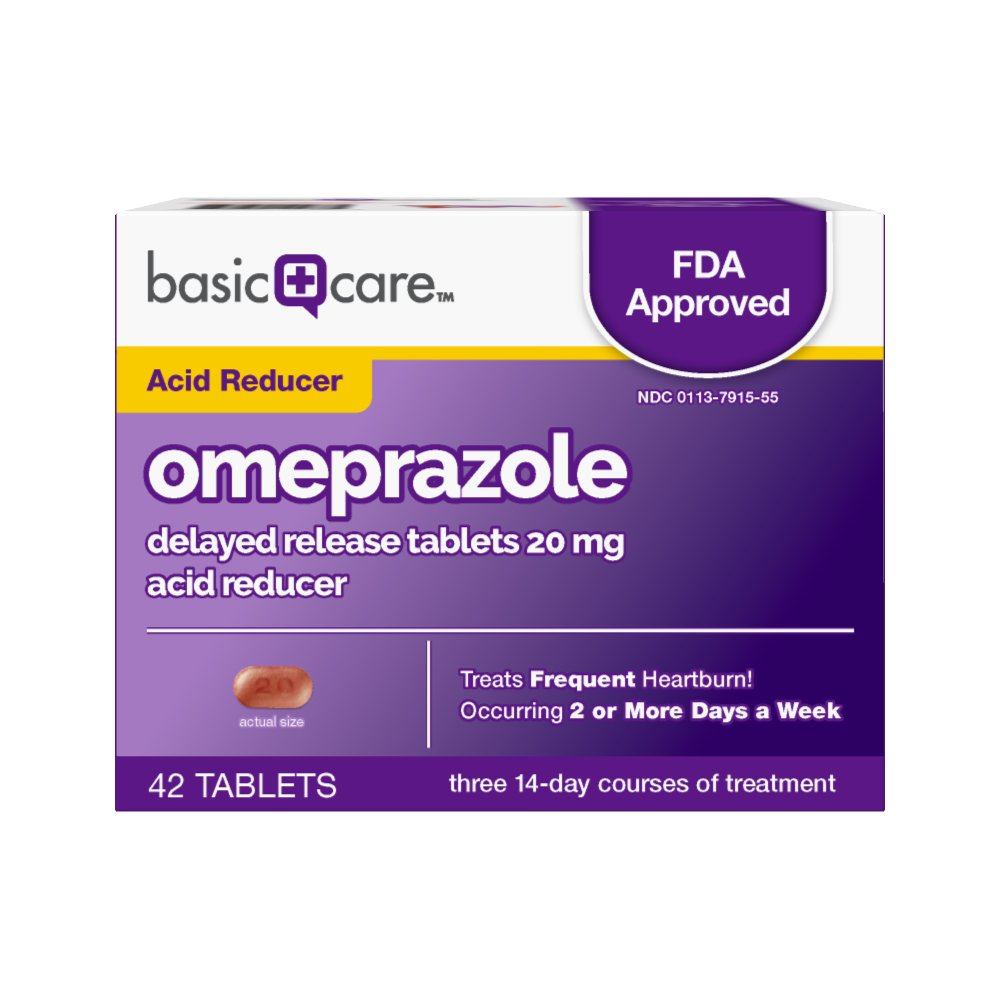 Basic Care Omeprazole Delayed Release Tablets Acid Reducer, 42 Count