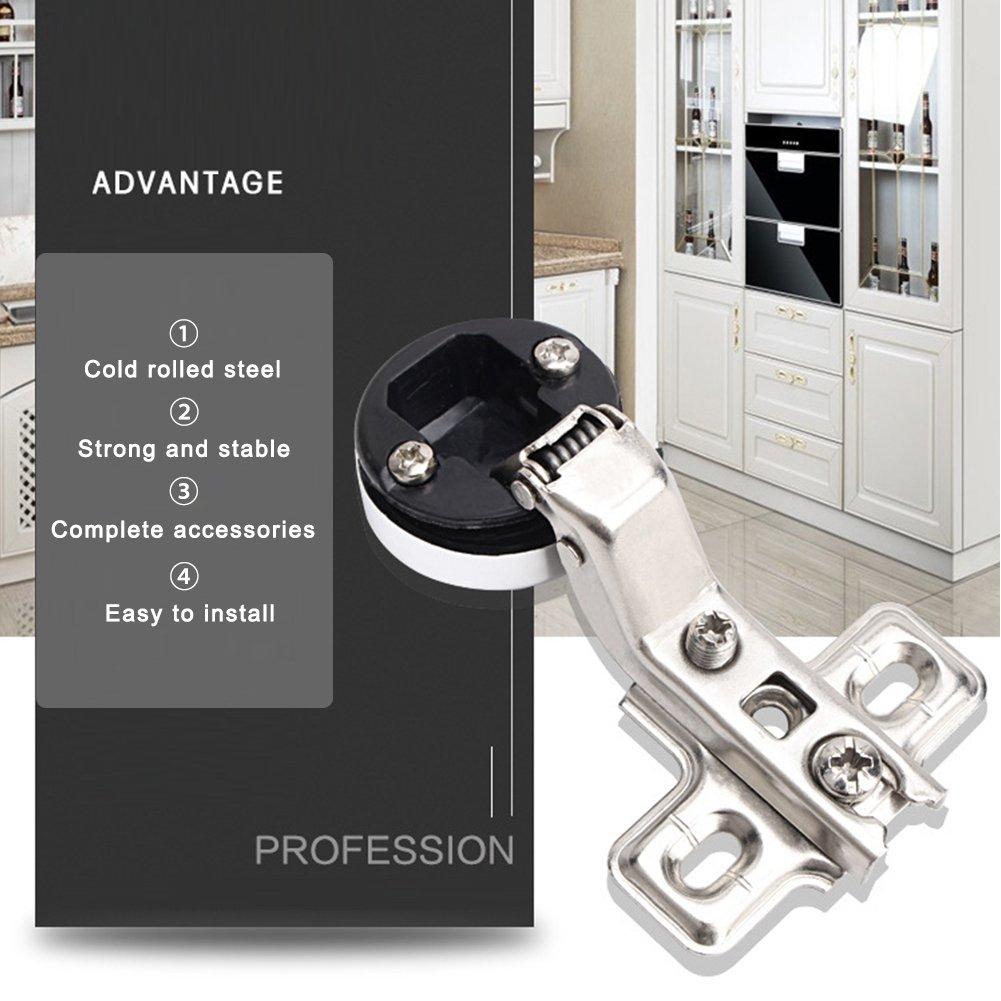 Show Tornillos de 26 mm 2 bisagras para gabinete de Vino Puerta de Cristal de Cocina bisagra Oculta Accesorios para gabinete de Vino Straight