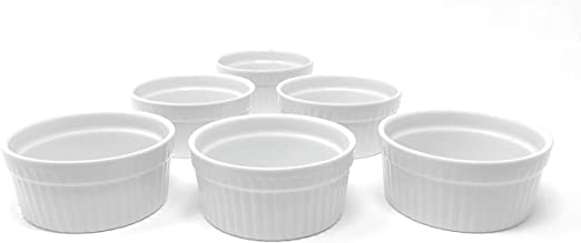 Ramekins Sweese 502.003 Porcelain Souffle Dishes Set of 6 4 Ounce for Souffle Cool Assorted Colors Creme Brulee and Dipping Sauces Renewed